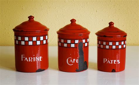 french enamel canister set vintage french enamelware canisters set of 3 red by