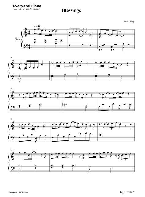 printable lyrics laura story blessings blessings laura story stave preview 1 free piano sheet