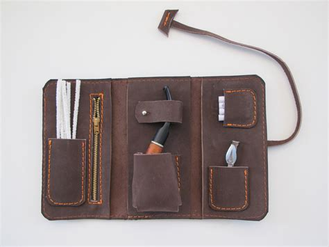 Handmade Leather Pouches - handmade leather pipe pouch