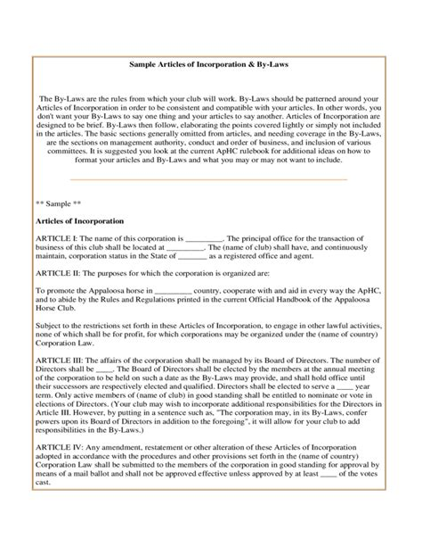 Sle Articles Of Incorporation And By Laws Free Download Articles Of Incorporation Template