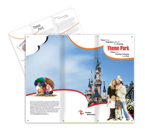 pc themes brochure theme park and hospitality postcard templates