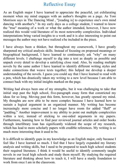 Reflective Narrative Essay by Exles Of Reflective Writing Essays Sle Reflective Essays Program Csu Channel