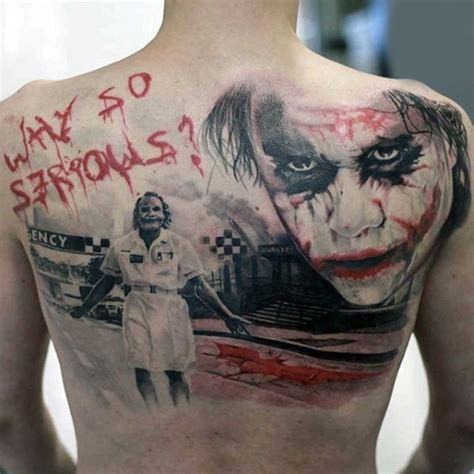 Joker Tattoo Writing | realism style colored back tattoo of joker with lettering