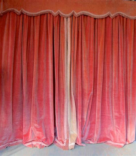 velvet drapes pair of pink velvet drapes with valance at 1stdibs
