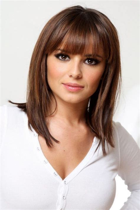 shoulder length haircuts with bangs medium length hairstyles with bangs for fine hair beauty