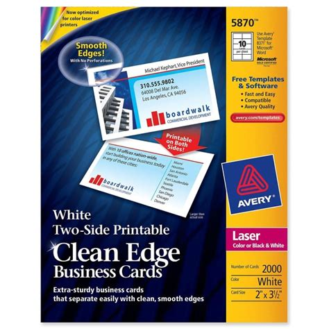 Avery 2 X 3 5 Business Card Template by Avery Clean Edge Business Cards Matte White 3 5 Quot X 2