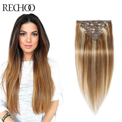 clip in hair extensions quality human hair wefts buy 8 613 mixed color straight human hair clip in extensions