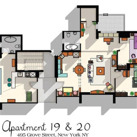 floor plan of friends apartment friends tv show apartment floor plan from drawhouse on etsy