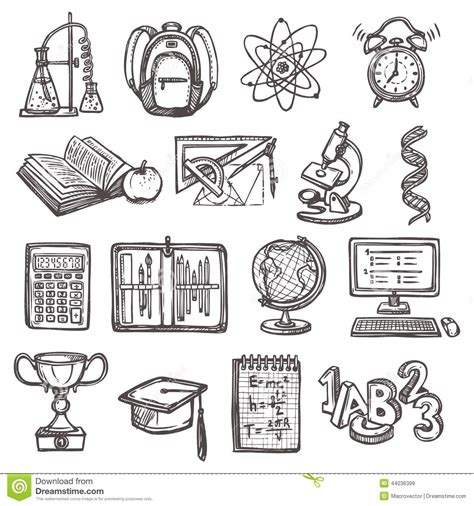 Sketches School by School Education Sketch Icons Stock Vector Image 44036399
