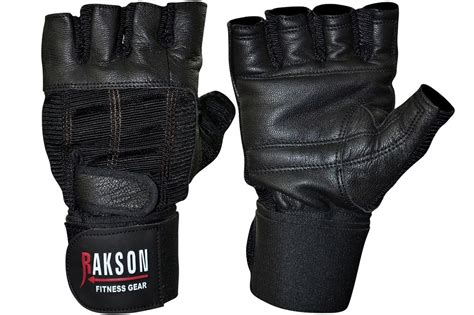 Leather Grip Lll s black leather weightlifting gloves wrist wrap weight