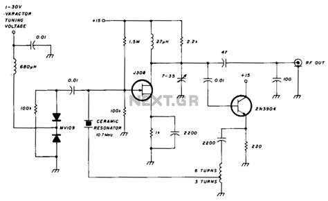 varactor diode in tuning circuits gt oscillators gt gt varactor tuned 10 mhz ceramic resonator oscillator l11956 next gr