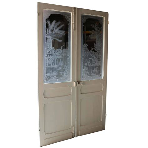 Antique Etched Glass Doors Pair Of Antique Etched Glass Doors At 1stdibs