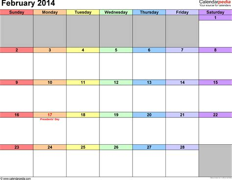 february 2014 calendars for word excel pdf