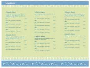 Menu Templates Free Microsoft by Free Restaurant Menu Templates Microsoft Word Templates