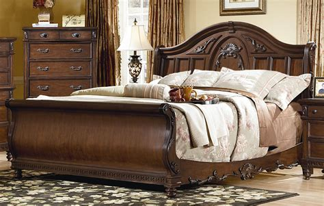Sleigh King Bedroom Set | 4 piece victorian renaissance cherry king sleigh bed