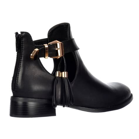 Cut Out Boots by Shoekandi Chelsea Ankle Boot Cut Out Sides Gold Buckles