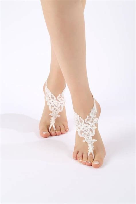 lace barefoot sandals free ship ivory or white lace sandals lace