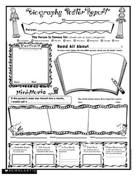 black history report template biography poster report free printable from scholastic