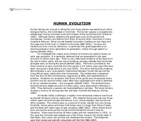 Human Evolution Essay human evolution biological sciences marked by teachers
