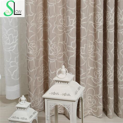 embroidered window curtains rose cotton embroidered curtain with stereo flower type