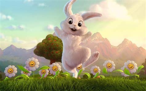 cute white bunny animated hd wallpaper   starchop