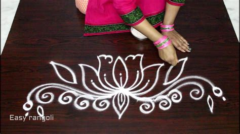 side designs simple and easy lotus rangoli side designs muggulu side