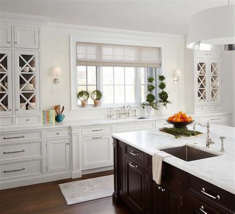 White Kitchen Cabinets With Espresso Island Transitional White And Espresso Kitchen Cabinets