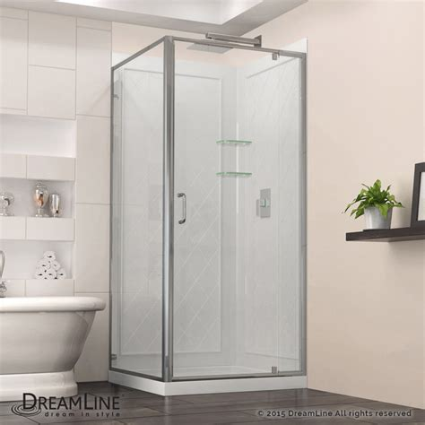 32 Shower Door Dreamline Flex 32 Quot X 32 Quot Frameless Shower Enclosure Backwall Base Kit Chrome Modern