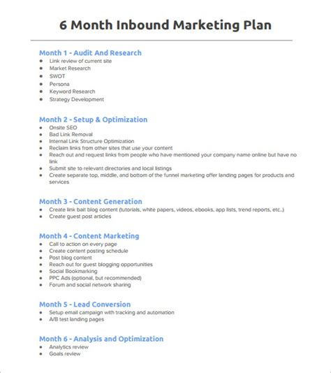 6 month business plan template marketing plan outline template 6 free word excel pdf