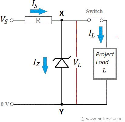 circuit diagram for zener diode as voltage regulator zener diode series resistor calculator