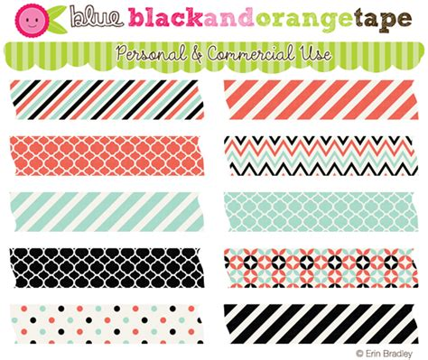 washi tape designs erin bradley designs new black orange blue digi