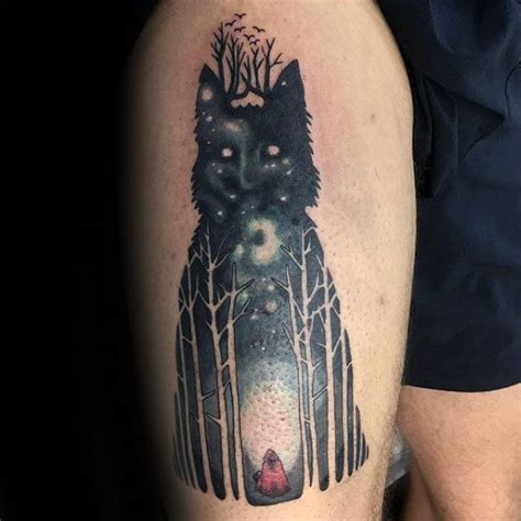 wolf forest tattoo 100 forest designs for masculine tree ink ideas