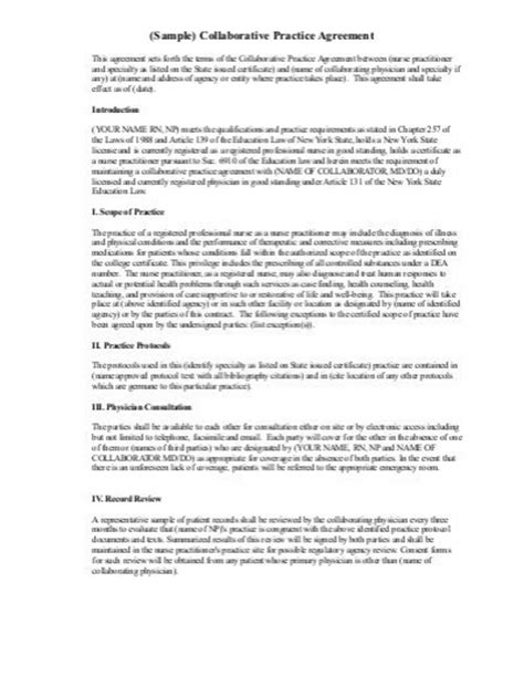 Practitioner Collaborative Agreement Template Sle Collaborative Practice Agreement