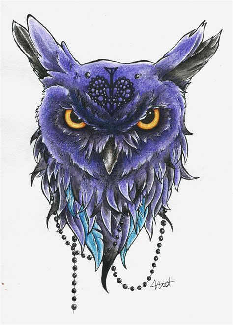 owl design added color by vlidery on deviantart