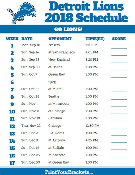 Printable Lions Schedule | printable detroit lions schedule 2018 season