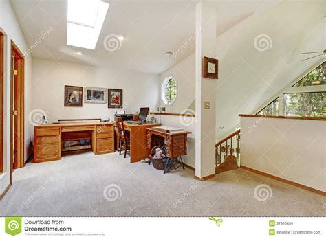 room that a office up stairs upstairs office room open wall design idea royalty free stock images image 37920489