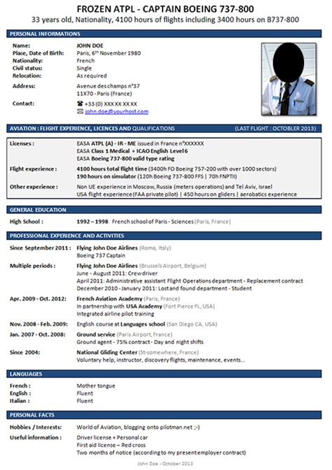Pilot Cv Template by Curriculum Vitae Exle Search Results Calendar 2015