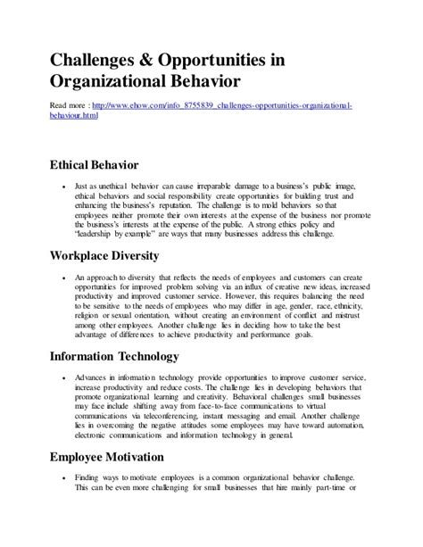challenges for managers in organizational behaviour challenges and opportunities of organizational behavior