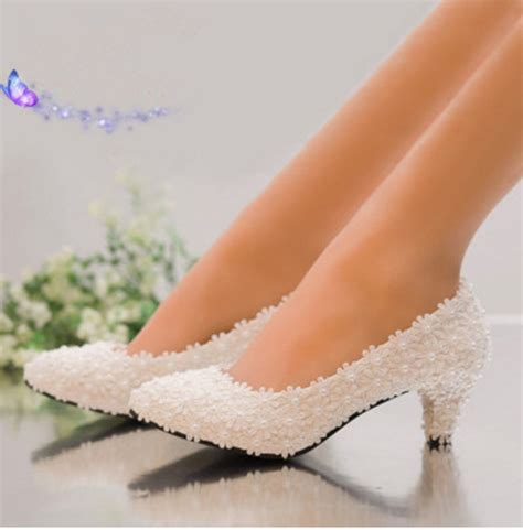Brautschuhe Flach Rosa by New Arrival Pearl White Pink Lace Flower Heel