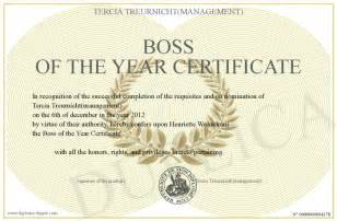 boss of the year certificate