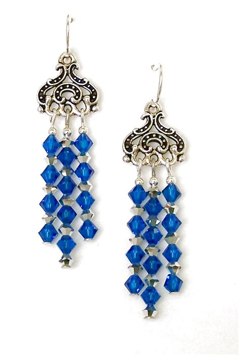 blue chandelier earrings blue chandelier earrings handmade beaded