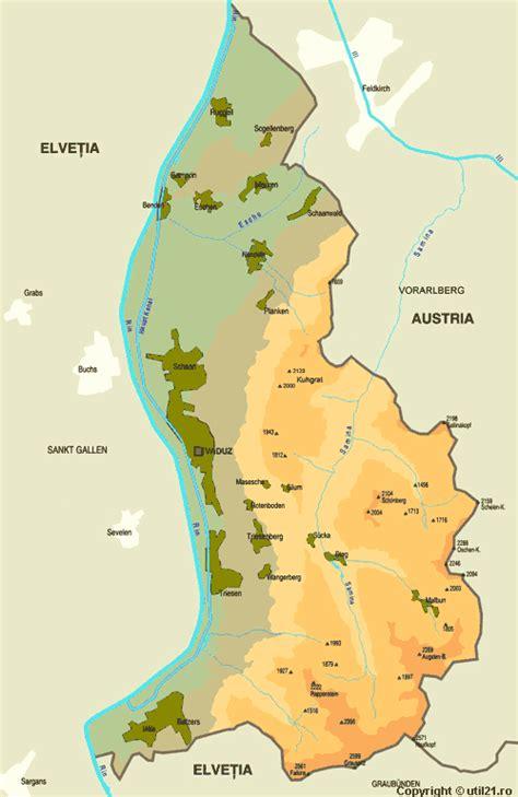 where is liechtenstein on a map map of liechtenstein maps worl atlas liechtenstein map