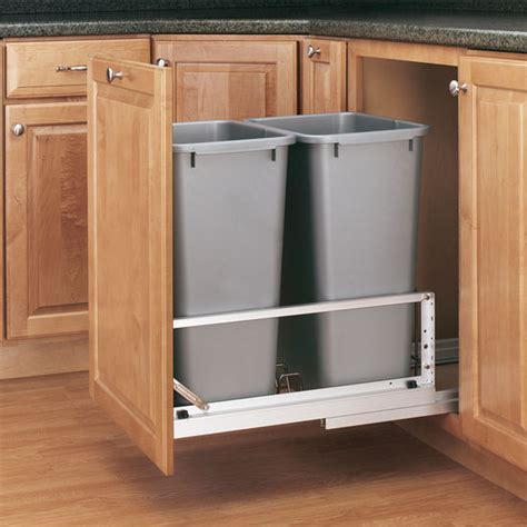 trash can roll out for cabinets rev a shelf premiere quot bin pull out waste