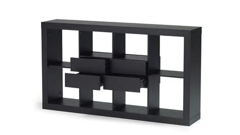 horizontal bookcase with drawers espresso wood bookshelf with four drawer storage