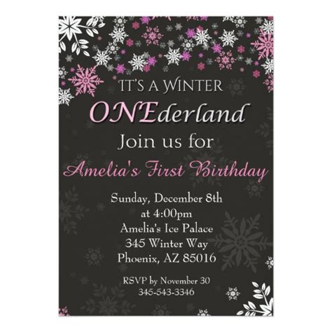 1 Birthday Card Template Winter Onederland by Winter Onederland Invitation 1st Birthday Card