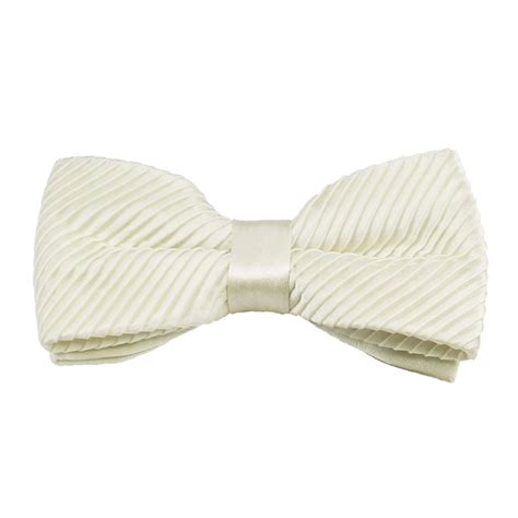 plain ivory silk pleated bow tie from ties planet uk