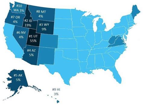 most populated state in usa which states in the united states have the most lds lds