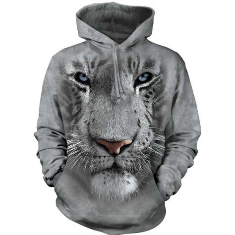 713252 The Mountain Sweater White Tiger Crew Neck white tiger hoodie the mountain clothingmonster