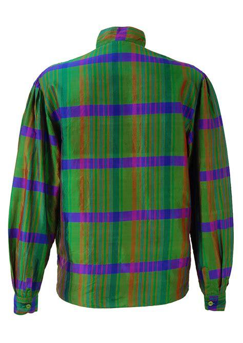 blue pattern blouse green blue tonic silk blouse with striped pattern m l