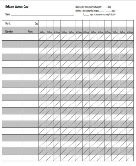 exercise program card template blank workout sheet sle 5 exles in word pdf
